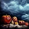 Royalty Free Stock Photos: Halloween Pumpkins Night