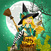 Stock Photo: Beautiful Young Witch Book Broom